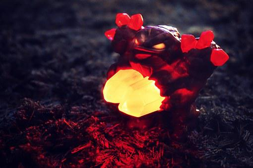 Crystal, Ornament, Red, Glowing, Decoration, Toy, Light