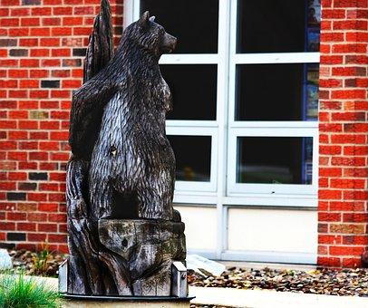 Bear, Carving, Wood, Animal, Design, Wildlife, Pattern