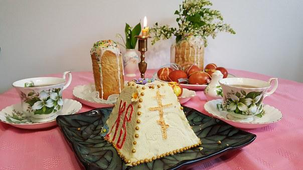 Easter, Easter Cake, Candle, Table, Eggs