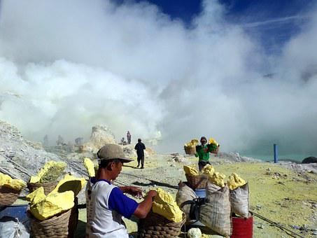 Miners, Ijen, Indonesia, Mine, Man, Crater, Fog