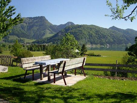 Nature, Jause, Table, Outdoor, Cozy, Lake, Mountains