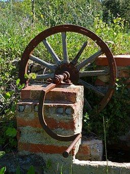 Well, Crank, Mechanism, Old, Water, Noria, Rural