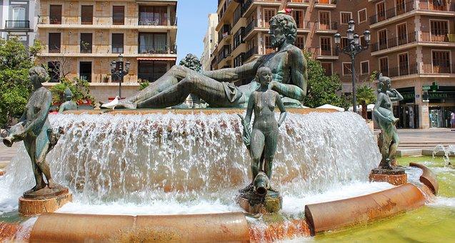 Fountain, Turia, Valence, Spain, Place Of The Virgin