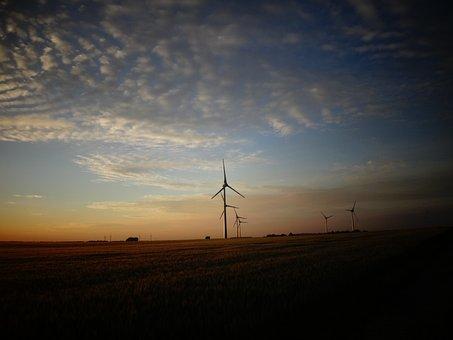 Clouds, Sunset, Wind Power, Wind Turbine, Current