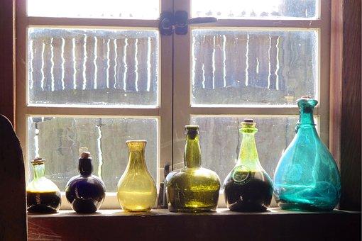 Bottles, Windows, Old, Dusty, Shelf, Window Sill