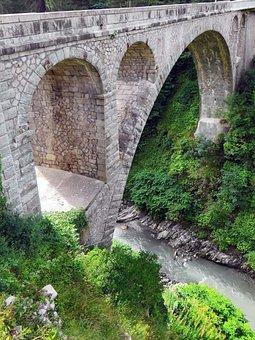 France, Savoie, Flumet, Bridge, The Abyss, Architecture