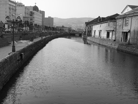 Canal, Otaru Canal, Black And White, Japan, Hokkaido