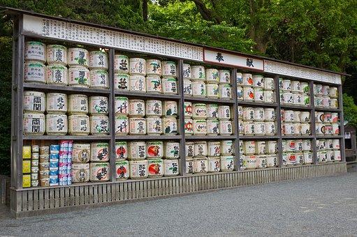 Sake, Barrels, Drink, Japan, Alcoholic, Characters