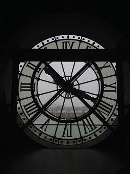 Clock, Paris, Museum, Orsay, Architecture, Contrast