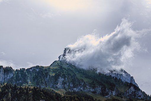 Mountain With Cloud Swaths, Mountain, Cloud, Alpine