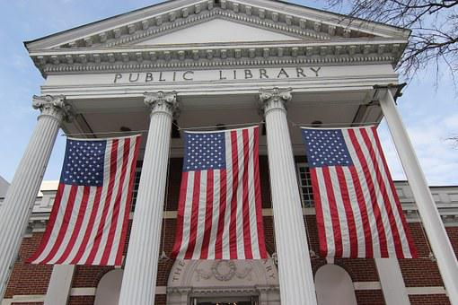 Flags, Civic Pride, Public Building, Public Library
