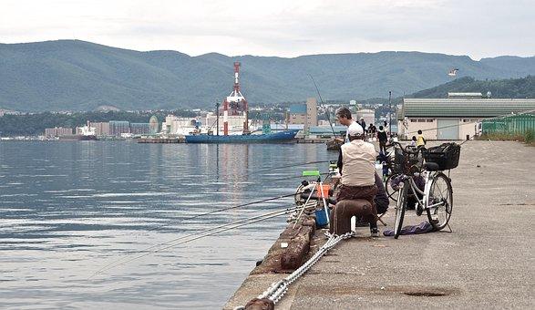 Fishing, People, Japan, Hokkaido, Otaru, Pier