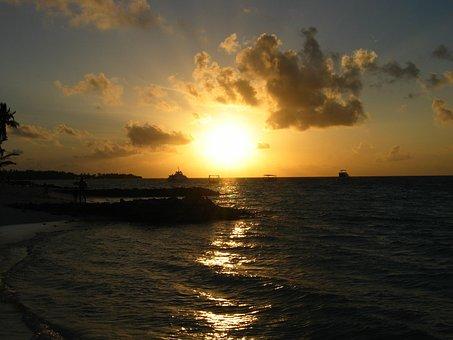Sea, Holiday, Maldives, Sunset, Sun, Evening, Hot