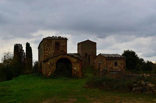 An Abandoned, Building, Tuscany, Italy, Stone, House