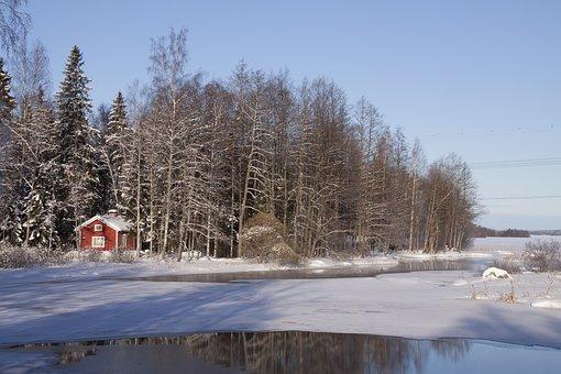 Sauna, Sauna Cabin, Lake, Beach, Wood, Winter, Ice