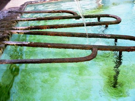 Fountain, Water Jet, Water Basin, Flow, Iron Rods, Rust