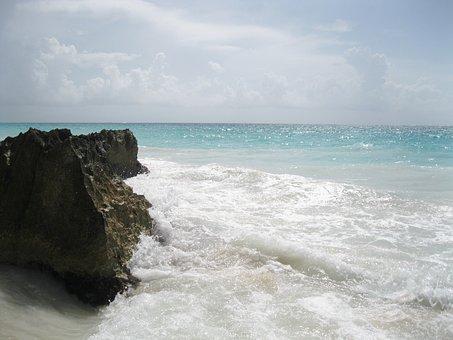 Beach, Sea, Wave, Horizon, Rock, Stone, Tulum, Mexico