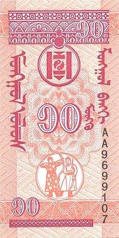 Banknote, Money, Mongolia, Scan, Mongoreverse, Möngö