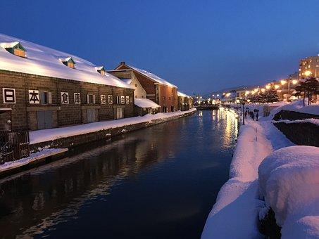 Japan, Otaru, Snow, Hokkaido, Canal