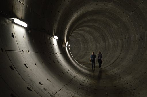 Tunnel, Shaft, Dark, Lonely, Deep, Depth, Hiking, Two