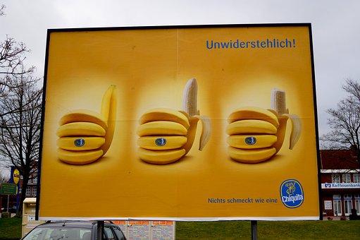 Bananas, Fruit, Yellow, Advertising, Advertising Board