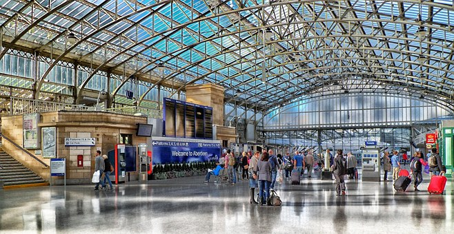 Aberdeen, Scotland, Train Station, Depot, People