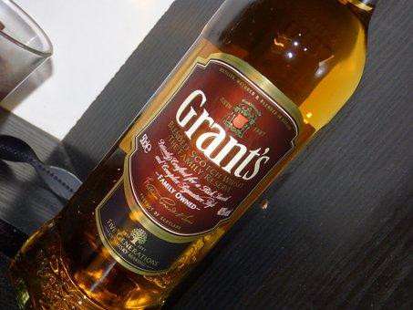 Whiskey, Whisky, Drink, Bottle, Grants, Amber, Alcohol