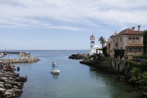 Lighthouse, Boat, Cascais, Portugal, Rocks, Santa Marta