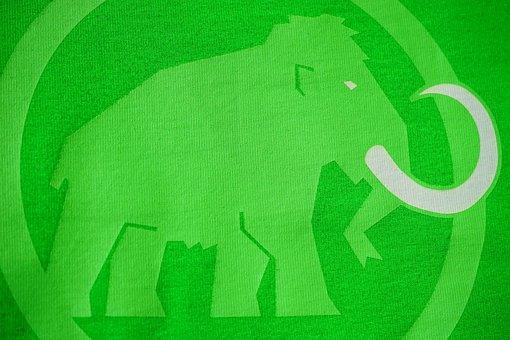 Mammoth, Logo, Brand, Green, Fabric, Elephant, Close