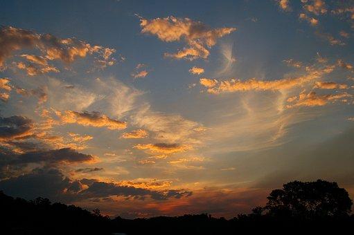 Sunset, Sky, Pink, White, Blue, Grey, Clouds, Horizon