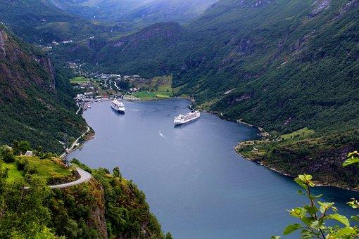 Geiranger, Norwegian Fjord, Panoramic, Cruise Ships