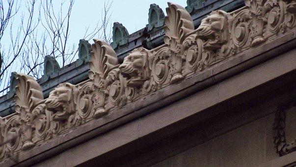 Lion Heads, Gargoyles, Water Spouts, Roof, Sculpture