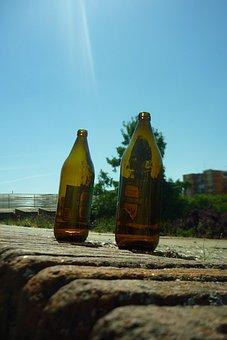 Bottles, Beer, Helmets, Alcohol, Glass, Trash