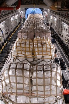 Aircraft, Plane, Cargo, Hold, Bundles, Crates, Packages