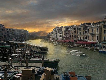 Europe, Italy, Holiday, Sky, Water, Venice, Sunset, Sun