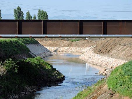 River, Bridge, Water, Levee, Iron, Bight, Curve, Gicane