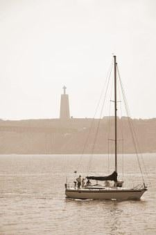 Portugal, Lisbon, Bridge, View, Sailing Boat, Landmark