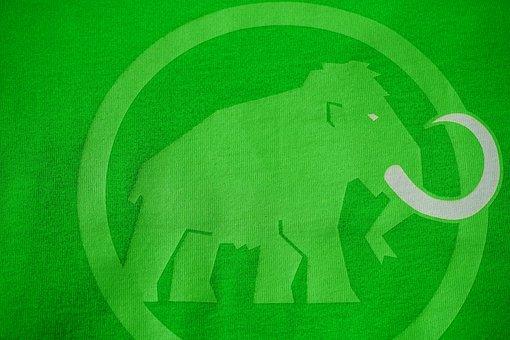 T Shirt, Green, Mammoth, Logo, Brand, Fabric, Elephant