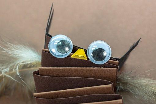 Owl, Eagle Owl, Bird, Eyes, Toys, Tinker, Handicraft