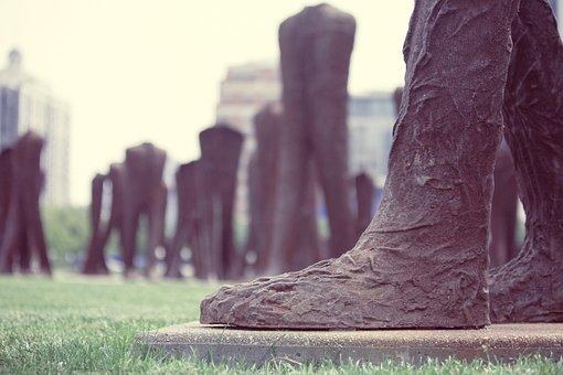 Agora, Feet, Statues, Big Foot, Iron, Sculpture, Brown