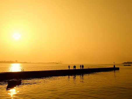 Sea, Sunset, Sky, Water, Light, Wave, Silhouette, Levee