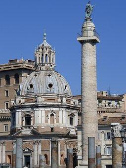 Rome, Forum, Ruins, Church, Trajan Column