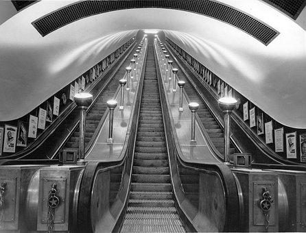 London, England, United Kingdom, Escalator