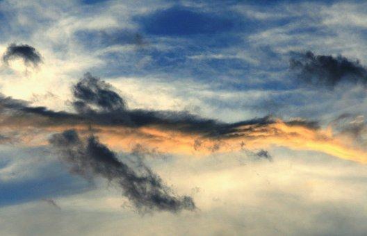 Sky, Blue, Clouds, Streaks, Wispy, White, Dark