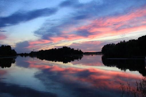 Sunset, Havel, Water, Mirroring, Abendstimmung, Clouds