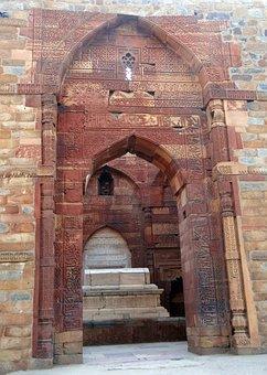 Qutab Complex, Arches, Islamic Monument, Red Sandstone
