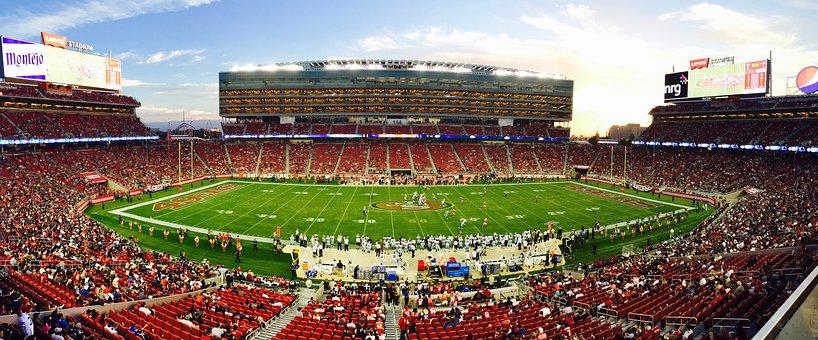 Athletes, Audience, Bleachers, Field, Football, Game