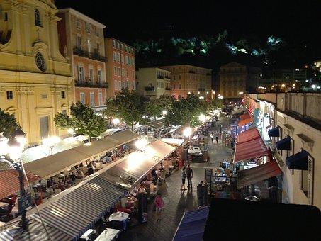 Nice, France, Côte D ' Azur, Cours Sela, Night, Market