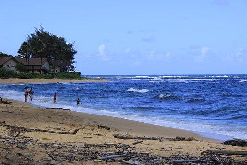 Hanalei, Kauai, Hawaii, Beach, Sea, Ocean, Waves