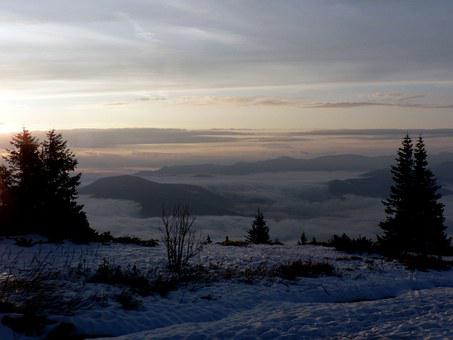 Slovakia, In The Morning, Clouds, Fatra, Winter, Clear
